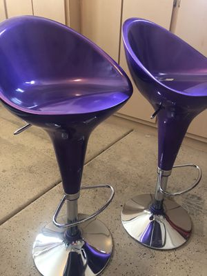 2 Purple Barstools Stainless w- lever Rare for Sale in Las Vegas, NV