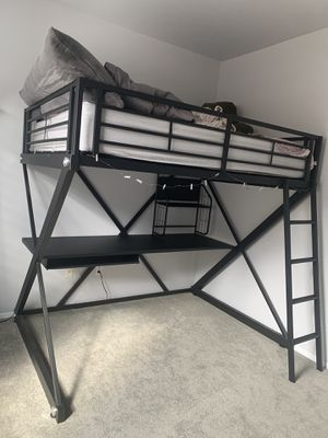 Iron bunk bed and desk combination - full size bed for Sale in Yucaipa, CA