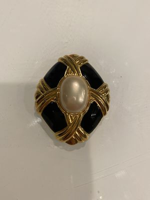 Vintage Trifari Black Enamel and a gold with Pearl Brooch for Sale in Sacramento, CA