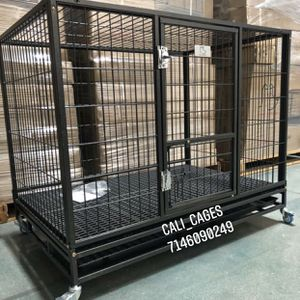 Dog Pet Cage Kennel Size 43 Large Folding With Plastic Floor Grid Tray And Wheels New In Box 📦 for Sale in Chino, CA