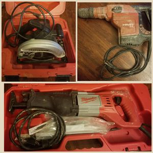 Tools: Craftsman Circular saw, Milwaukee Sawzall with blades, Hilti TE 56 Rotary Hammer Drill for Sale in Aurora, CO