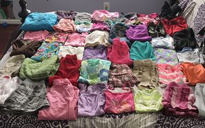 44 clothing items size 10-12 all in good shape theres short sleeve shirts ,long sleeve shirts,shorts, skirts ,long pants,jackets and 2 pairs of shoes for Sale in Alexandria, VA