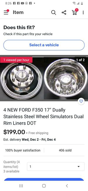 "2 NEW FORD F350 17"" Dually Stainless Steel Wheel Simulators Dual Rim Liners DOT for Sale in Hodgkins, IL"