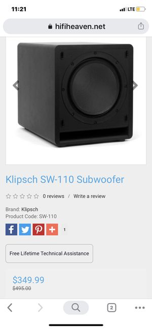 Klipsch sw-110 subwoofer speaker top of the line 450 watts for Sale in West Covina, CA