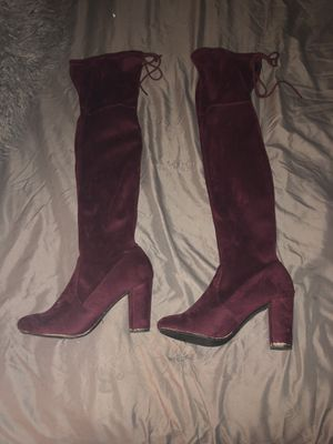 Burgundy thigh high boots for Sale in Dunwoody, GA