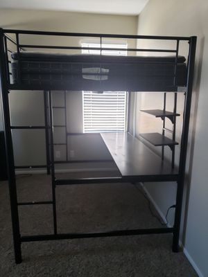 TWO Walker Edison Metal Full/Double loft bed with desk for Sale in Temecula, CA