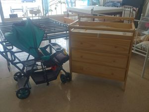 Baby Trend double stroller $59.99 dresser drawers three drawers with changing table top beautiful for Sale in Phoenix, AZ