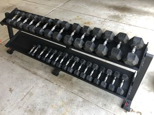 Dumbbell Set, Hex Rubber York Professional Rack for Sale in Arlington Heights, IL
