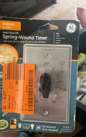 GE In-Wall Mechanical Countdown Timer Switch, Spring Wound, Up to 60 Minutes, No for Sale in Indianapolis, IN