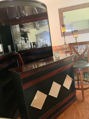 Bar with overhead light, stools, built in wine racks/storage shelves and bar accessories for Sale in Sacramento, CA