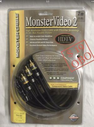 $17 OBO - MONSTER VIDEO 2 - PACKAGE CONTAINS ONE CABLE THAT IS 6.6 feet long, COMPONENT VIDEO - HDTV ULTRA-HIGH RESOLUTION - NEW IN PACKAGE for Sale in Glendale, AZ