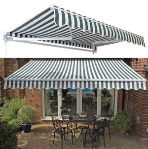 New in box Manual Patio 10 feet wide × 8' Retractable Sunshade Awning deck cover sun block canopy shade stripe navy blue and white or green stripe for Sale in Whittier, CA