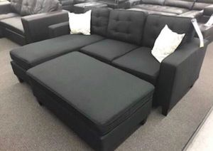 Black sectional sofa (ottoman included) reversible design for Sale in La Puente, CA