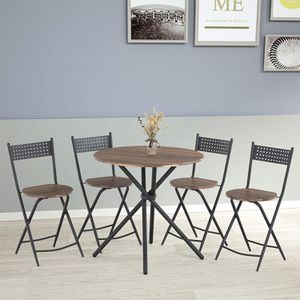 mecor 5 Pcs Dining Table Set 4 Folding Chairs, Mid-Century Vintage Round Coffee Table and Foldable Chairs with Wood Top and Metal Frame for Kitchen P for Sale in Ontario, CA