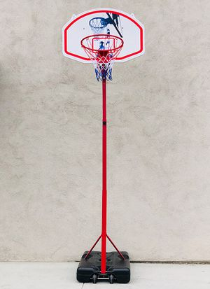 """(NEW) $75 Basketball Hoop w/ Stand Wheels, Backboard 32""""x23"""", Adjustable Rim Height 6' to 8' for Sale in Whittier, CA"""