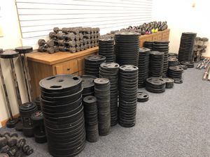 Olympic Plates Weight Set Dumbbells Fitness Barbells and More for $1/lb for Sale in New Lenox, IL