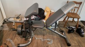 Gold's Gym bench press and 2x25lbs weights for Sale in Irving, TX