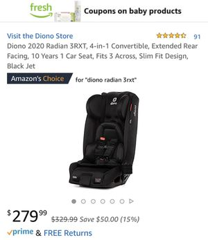 Diono 2020 Radian 3RXT, 4-in-1 Convertible, Extended Rear Facing, 10 Years 1 Car Seat, Fits 3 Across, Slim Fit Design, Black Jet. for Sale in Dallas, TX