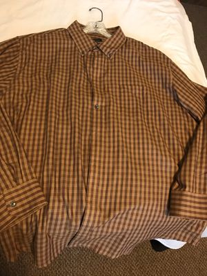 Men's van heusen brown check plaid shirt 18-18 1/2 XXL for Sale in Taylors, SC