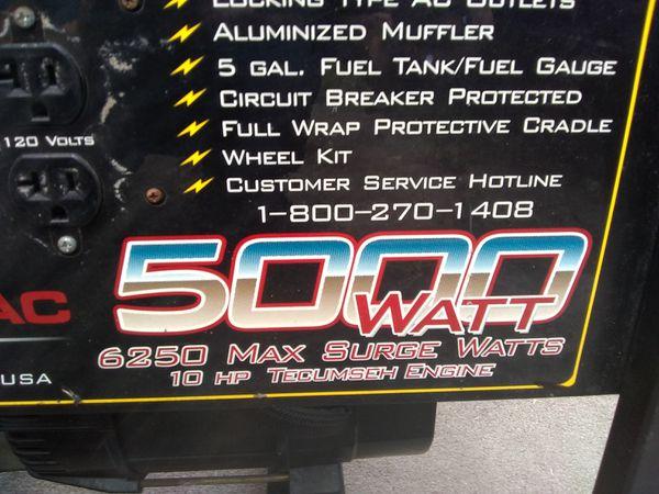 Generac 5000 watt generator 6250 Max surge generator 10 horsepower engine  for Sale in Hialeah, FL - OfferUp