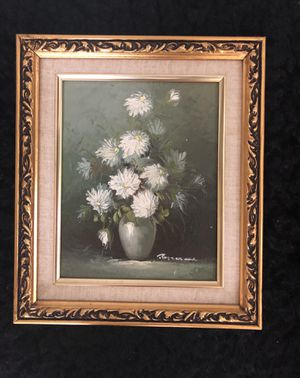 Medium size Oil painting of Daisies On a beautiful frame for Sale in Arlington, VA