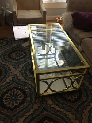 Coffee table with gold frame for Sale in Dallas, TX