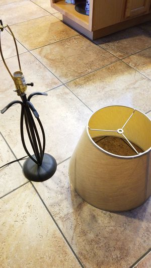 Black wrought iron lamp with shade for Sale in San Antonio, TX