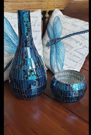 Jarron y porta vela azul / Vase and blue candle holder for Sale in Miami, FL