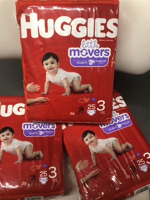 Huggies little movers size 3 25 ct x3 for Sale in McKeesport, PA