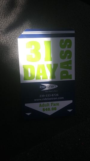 Lee tran bus pass 40$ but the lowest. Will take is 20$ for Sale in Lehigh Acres, FL
