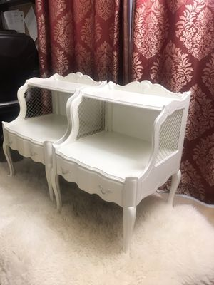 French Provincial white real wood side tables/nightstands for Sale in Purcellville, VA