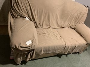 Loveseat sofa recliner + couch cover for Sale in Fairfax Station, VA