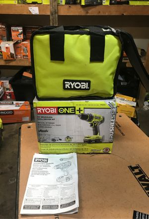 RYOBI 18-Volt ONE+ Lithium-Ion Cordless Brushless 1/2 in. Drill/driver with (2) 2.0 Ah Batteries, Charger, and Bag for Sale in Fontana, CA