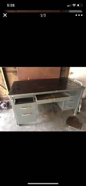Large metal work desk with glass top for Sale in Visalia, CA