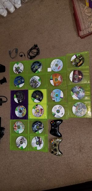 Xbox 360 with 20 games 2 Joysticks 2 headphones for Sale in Arlington, TX