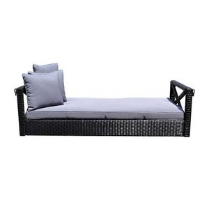 S23 Black 78'' Patio Porch Swing Bed Chair Resin Wicker Tree Ceiling for Sale in South El Monte, CA