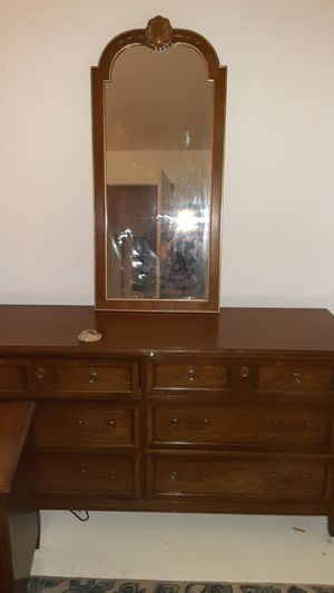 Nice dresser real wood. Mirror and 2 bedside tables for Sale in Buena Park, CA