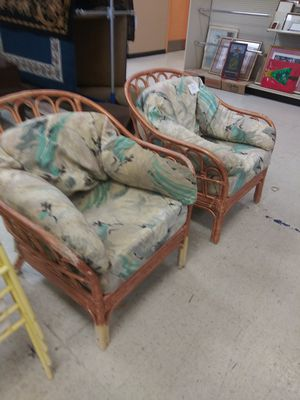 Two large wicker outdoor Chairs.and Cushions can be change or redone for Sale in Ellenwood, GA