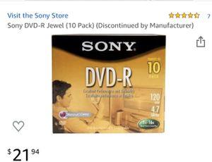 Sony DVD-R Jewel (10 Pack) - 120 min for Sale in Hemet, CA