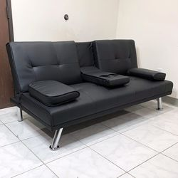 """New in box $190 Futon Sofa Bed Convertible Recliner Couch Living Room Furniture, Cup Holder (66x32x28"""") for Sale in Whittier,  CA"""