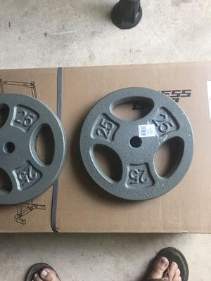 7 piece of weights plates 25 Lbs. 1 inch for Sale in Clifton, VA