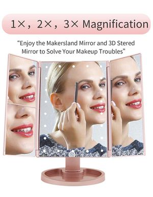 Makeup Mirror Lighted Makeup Vanity Mirror with 22 LED Lights, 180 Degree Rotation,2X/3X Magnification,LED Trifold Makeup Mirror with Touch Screen for Sale in Allen, TX