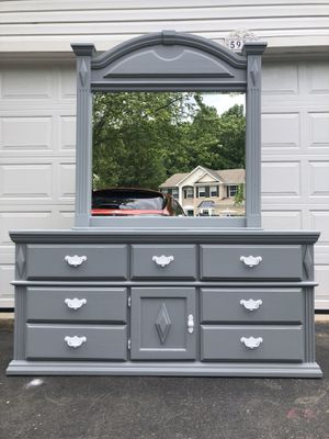 Solid Wood Long Dresser With Mirror Gray With White Handles for Sale in Woodbridge, VA