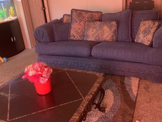 Pretty Blue Love Seat Sofa Set And Table for Sale in Longview,  TX