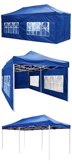 $190 NEW Heavy-Duty 10x20 Ft Outdoor Ez Pop Up Party Tent Patio Canopy w/Bag & 6 Sidewalls, Blue for Sale in Pico Rivera, CA
