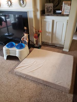Large orthopedic bed for your pet and feeder. for Sale in Conyers, GA