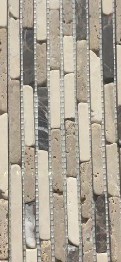 Jeffrey Court English Stone Emperador Brown/Cream 12.125 in. x 11.625 in. Interlocking Travertine/Marble Mosaic Tile for Sale in Los Angeles,  CA
