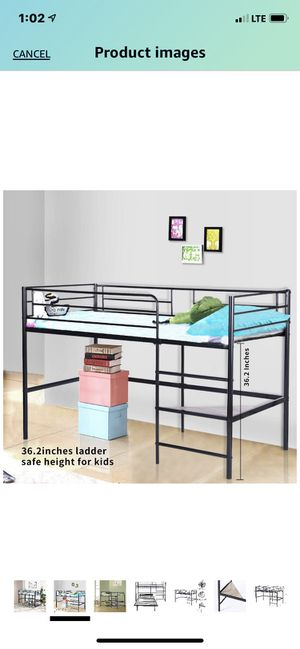 GreenForest Metal Loft Bed for Kids Twin Size Low Junior Bunk Bed Frame with Ladder and Shelf, Black for Sale in Boca Raton, FL