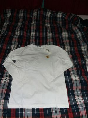 Comme des garcons White And Gold hearted long sleeve tee size M for Sale in Cheyenne, WY