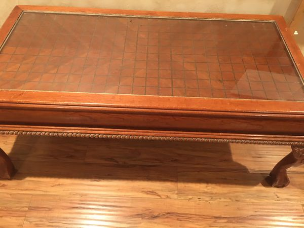 ANTIQUE OLD FASHIONED HARD WOOD TABLES(GLASS TOP)